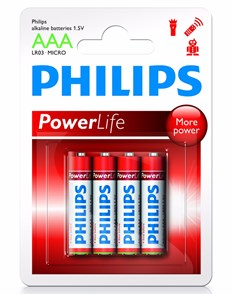 Philips Batteri Powerlife AAA 4pk